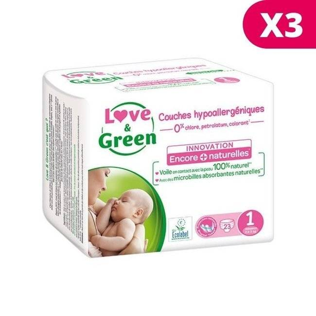 Couches jetables �cologiques (2-5 kg) hypoallerg�niques et anti-irritation. Love & Green (69 couches). Love & Green 3x23 couches T1 2/5 kg