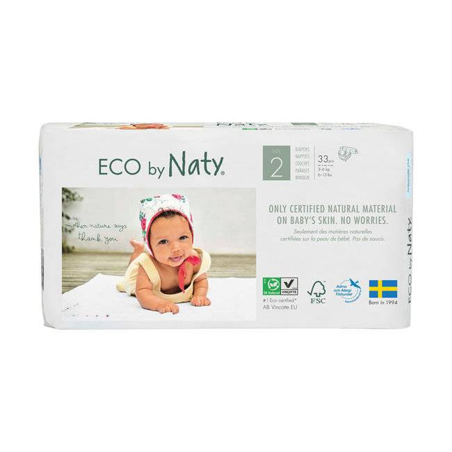Couches jetables �cologiques Naty by Nature Babycare. Taille 2 Mini de 3 � 6 kg. (33 couches). Naty 33 Couches �co Taille 2 - 3/6kg