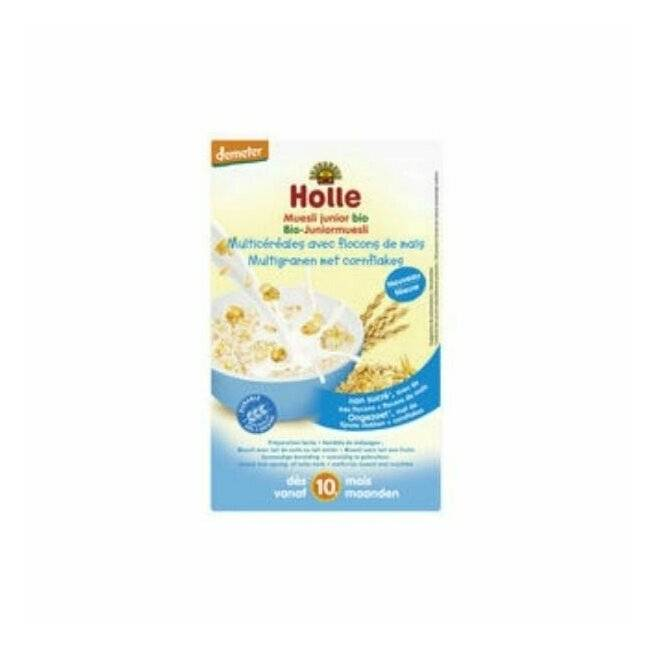 Muesli junior � base de flocons d'avoine, flocons de ma�s et bouillie d'�peautre adapt� aux enfants d�s 10 mois. Holle (250g). Muesli junior multic�r�ales nature 10m