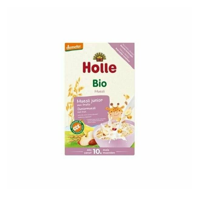 Muesli junior � base de flocons d'avoine, flocons de ma�s,bouillie d'�peautre et flocons de fruits. D�s 10 mois. Holle (250g). Muesli junior multic�r�ales fruits 10m