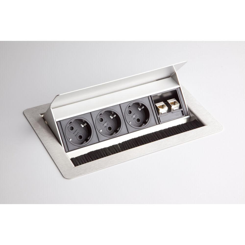 hjh OFFICE PRO ELDATA 0   Bloc multiprises (sans montage)   3 x prises de courant   2 x RJ45 - argent
