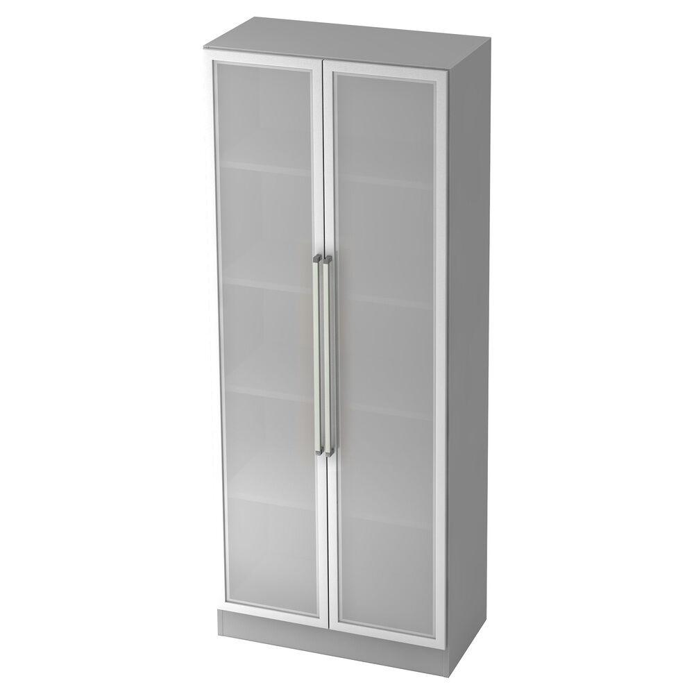 hjh OFFICE PRO SIGNA G 7100G CE - gris/argent Armoire avec portes en verre dépoli poignée chrome métal
