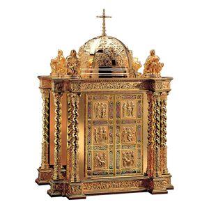 Tabernacle Molina style baroque scène vie Christ et Évangélistes laiton doré 85x60x42 cm