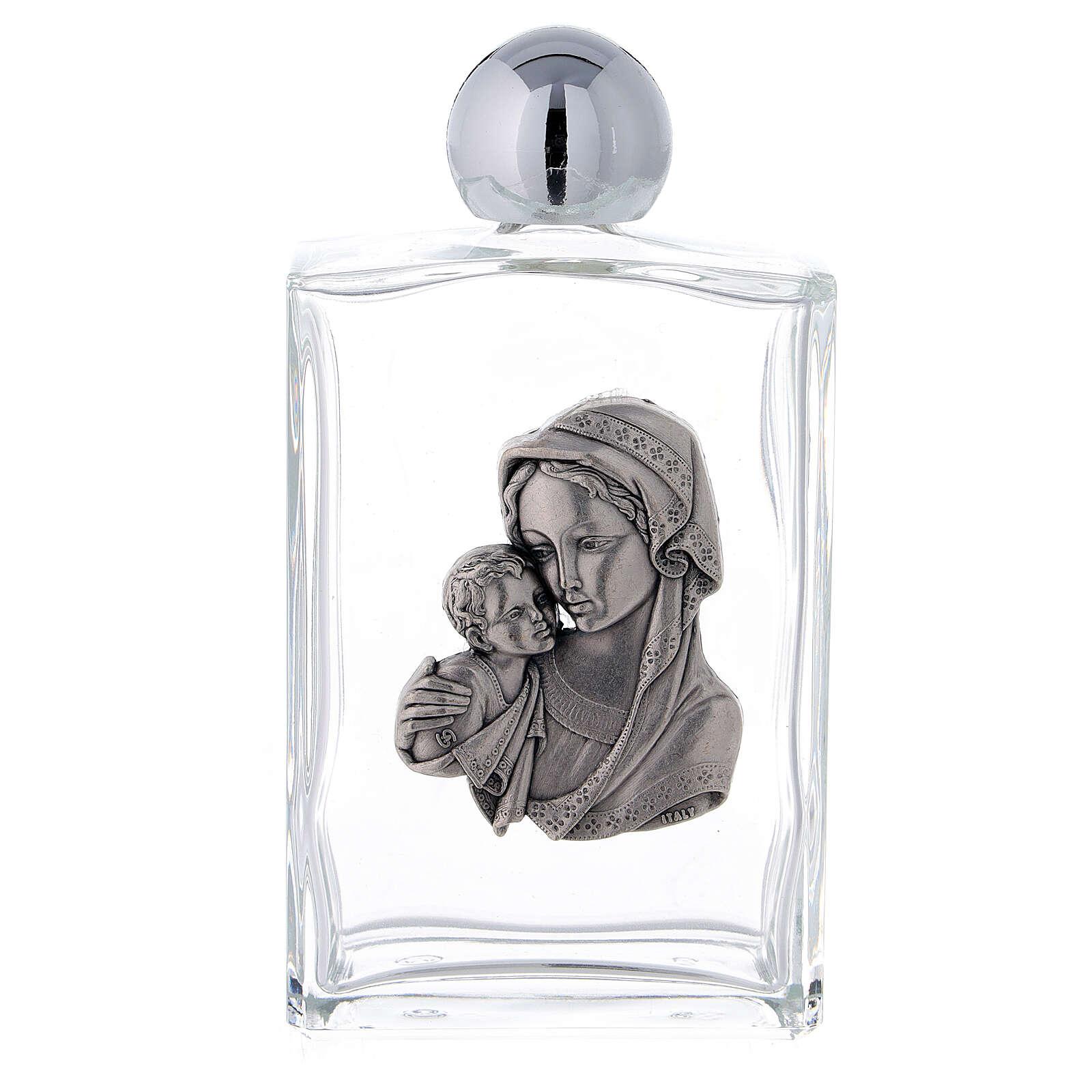 Bouteille eau bénite 100 ml Vierge à l'Enfant rectangulaire 25 pcs verre