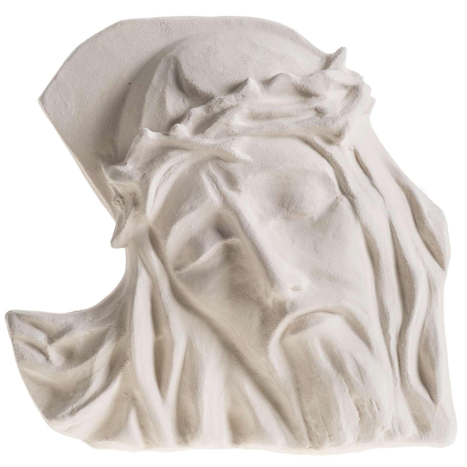 Bas relief Visage de Christ argile blanche 24 cm