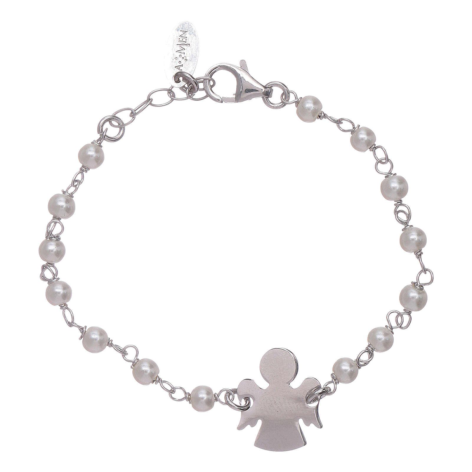 Bracelet enfant perles Swarovski et ange AMEN argent 925