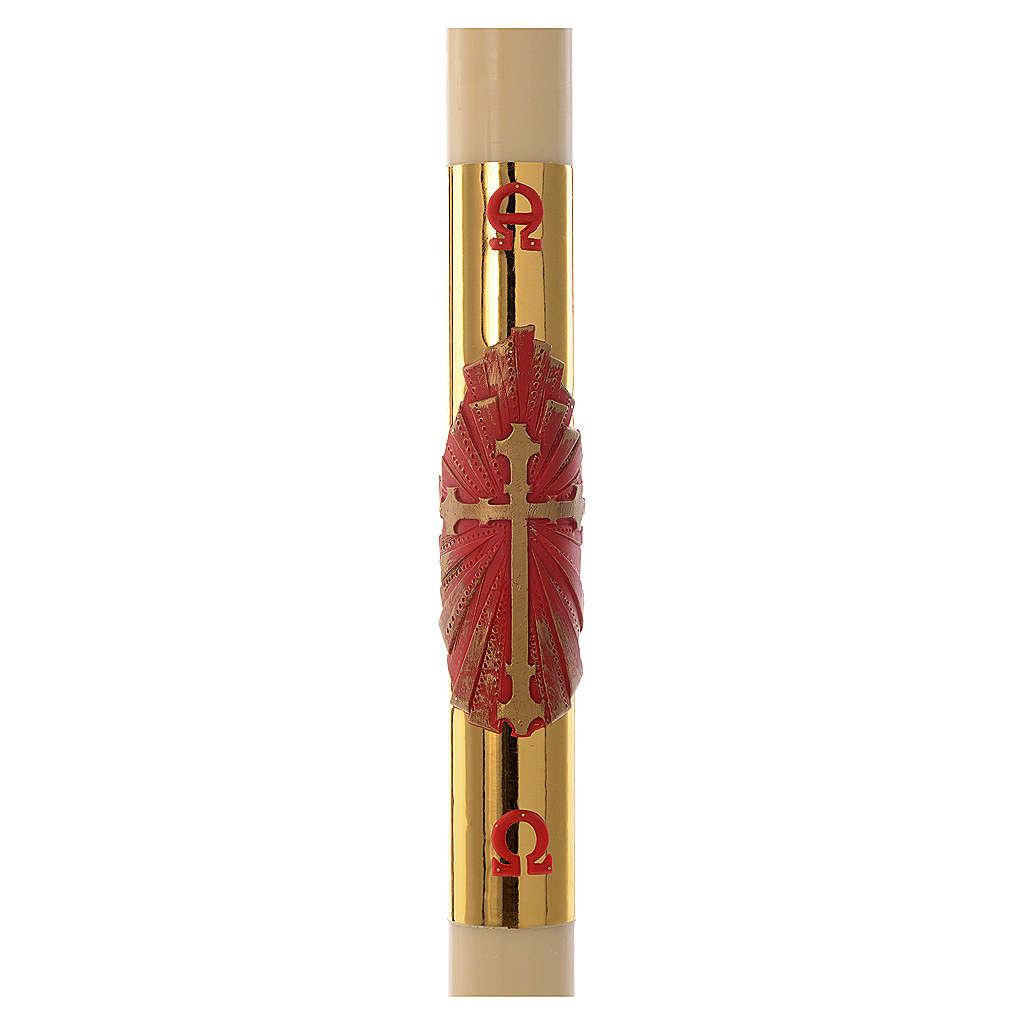 Cierge pascal RENFORT croix rouge fond or 8x120cm cire d'abeilles