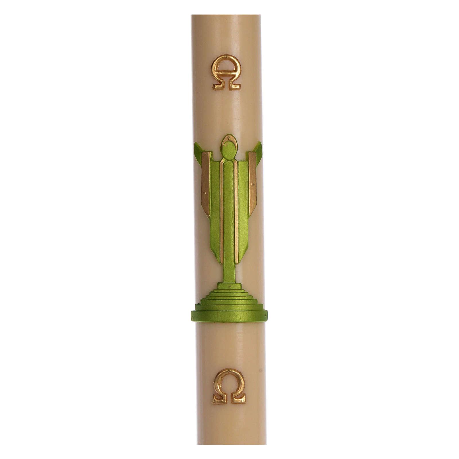 Cierge pascal cire d'abeille Christ Ressuscité vert 8x120 cm