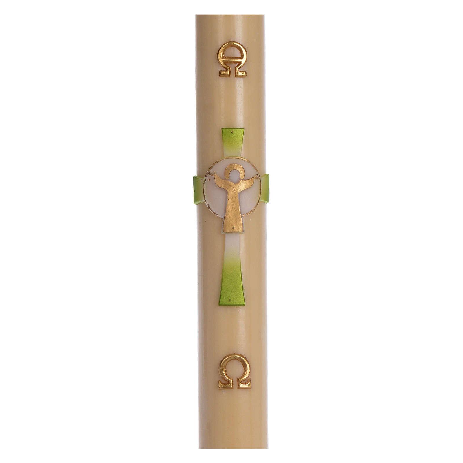 Cierge pascal cire d'abeille Croix Ressuscité vert 8x120 cm