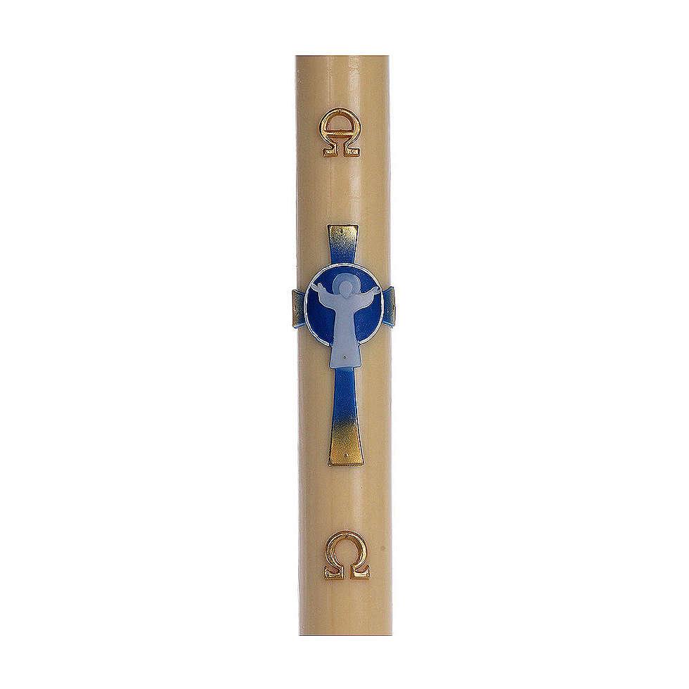Cierge pascal cire d'abeille RENFORT Croix Ressuscité bleu clair 8x120 cm