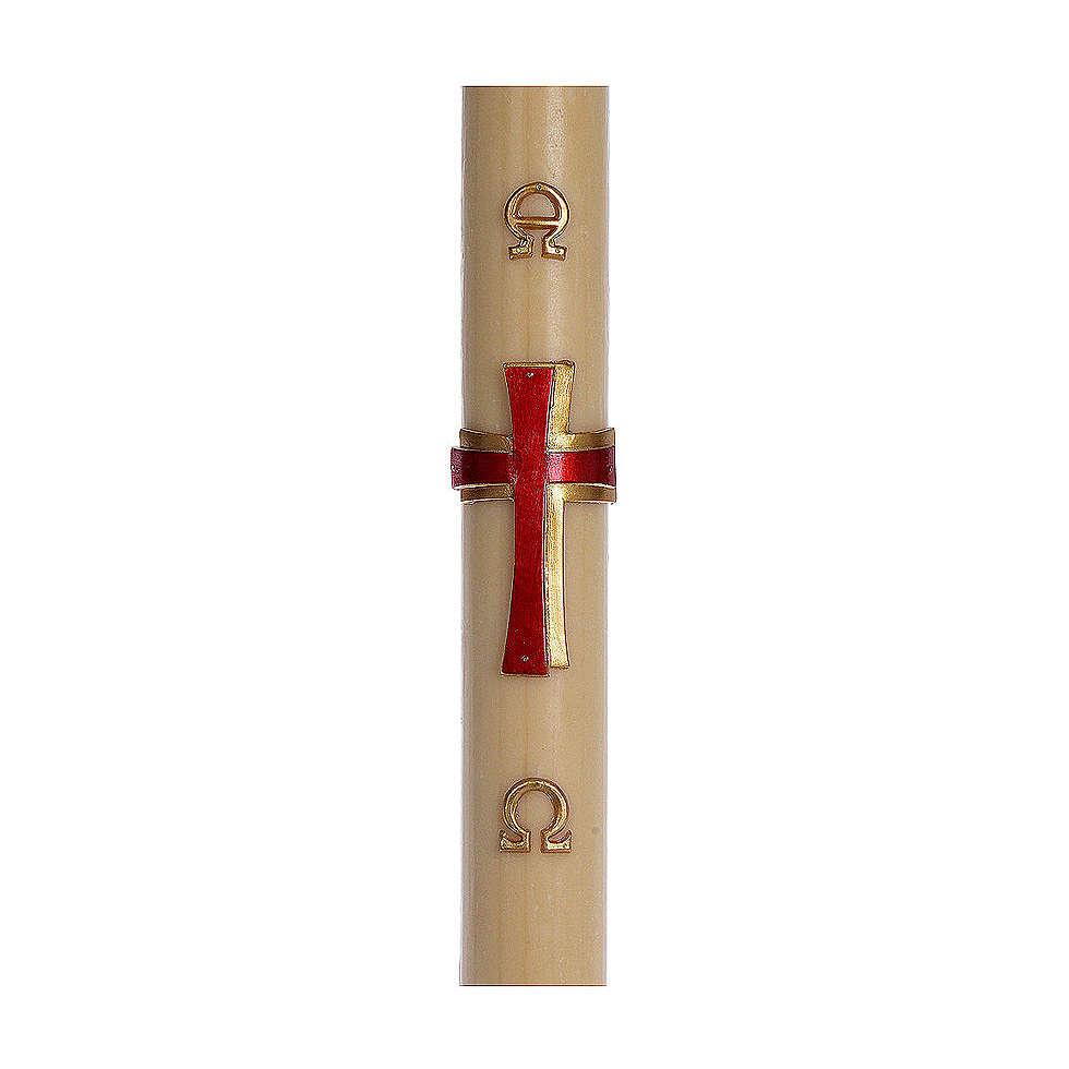 Cierge pascal cire d'abeille RENFORT Croix relief rouge 8x120 cm