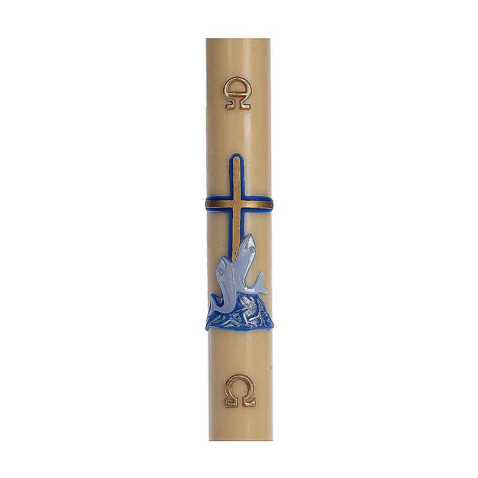 Cierge pascal cire d'abeille RENFORT Croix poissons bleu 8x120 cm