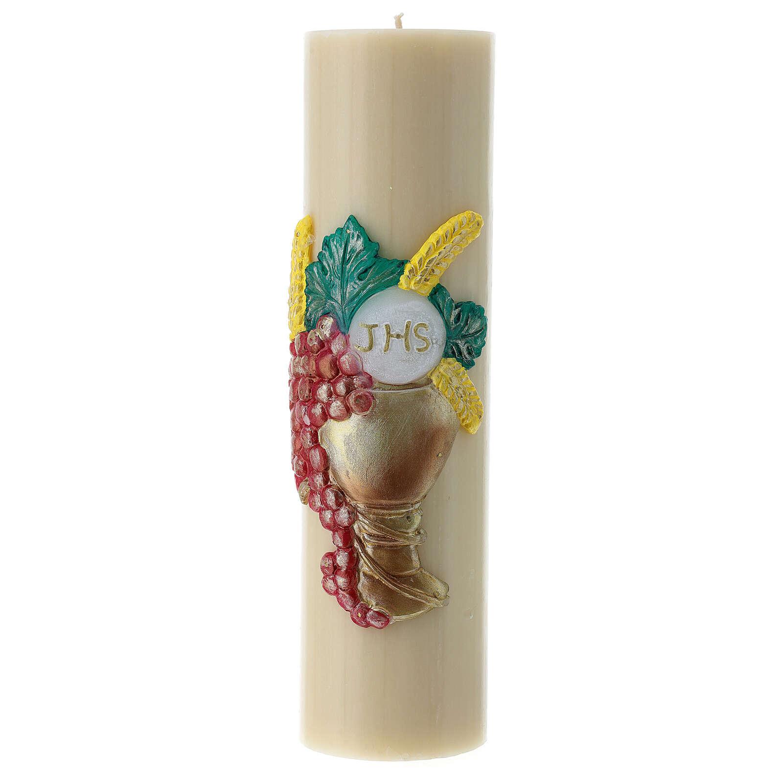 Bougie d'autel cire d'abeille calice raisin 300x80 mm