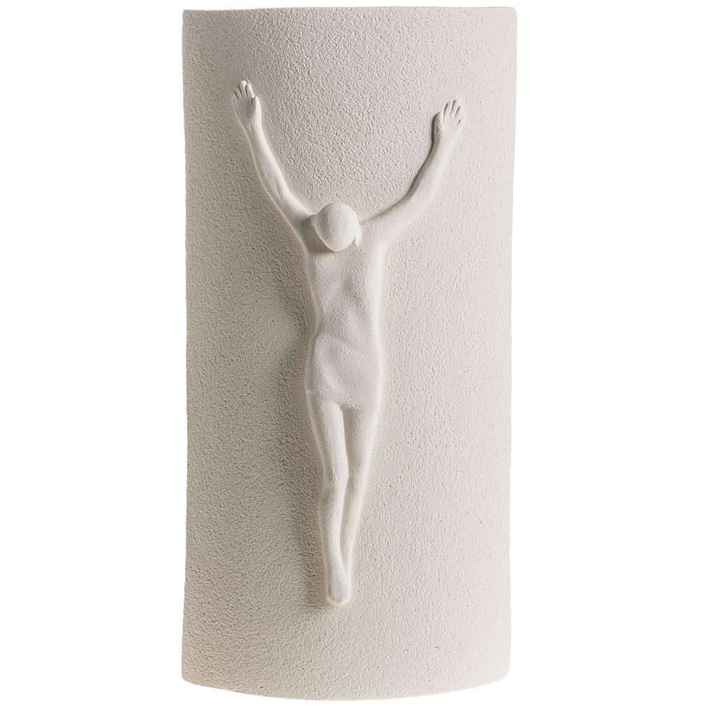 Crucifix argile blanche mod. Stele 29.5 cm