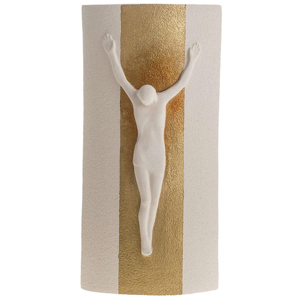 Crucifix argile blanche et or mod. Stele 29.5 cm