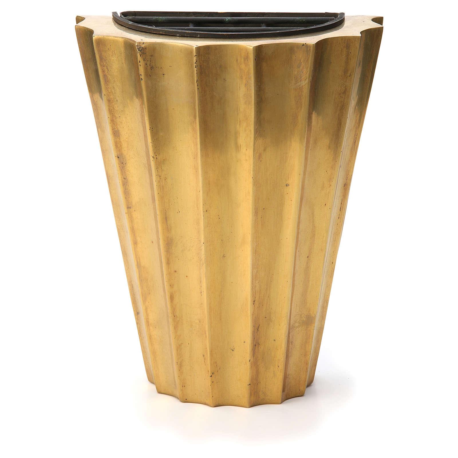 Vase cimetière laiton bronzé plissé avec bac