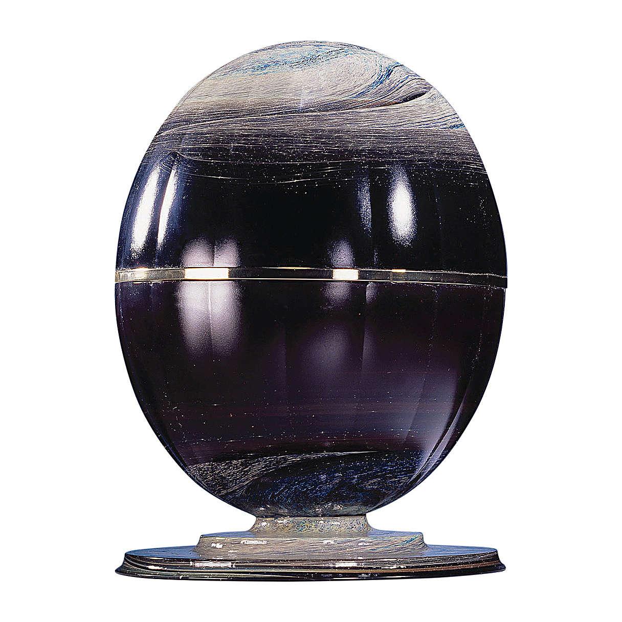 Urne funéraire Météorite verre de Murano et sphère en acier