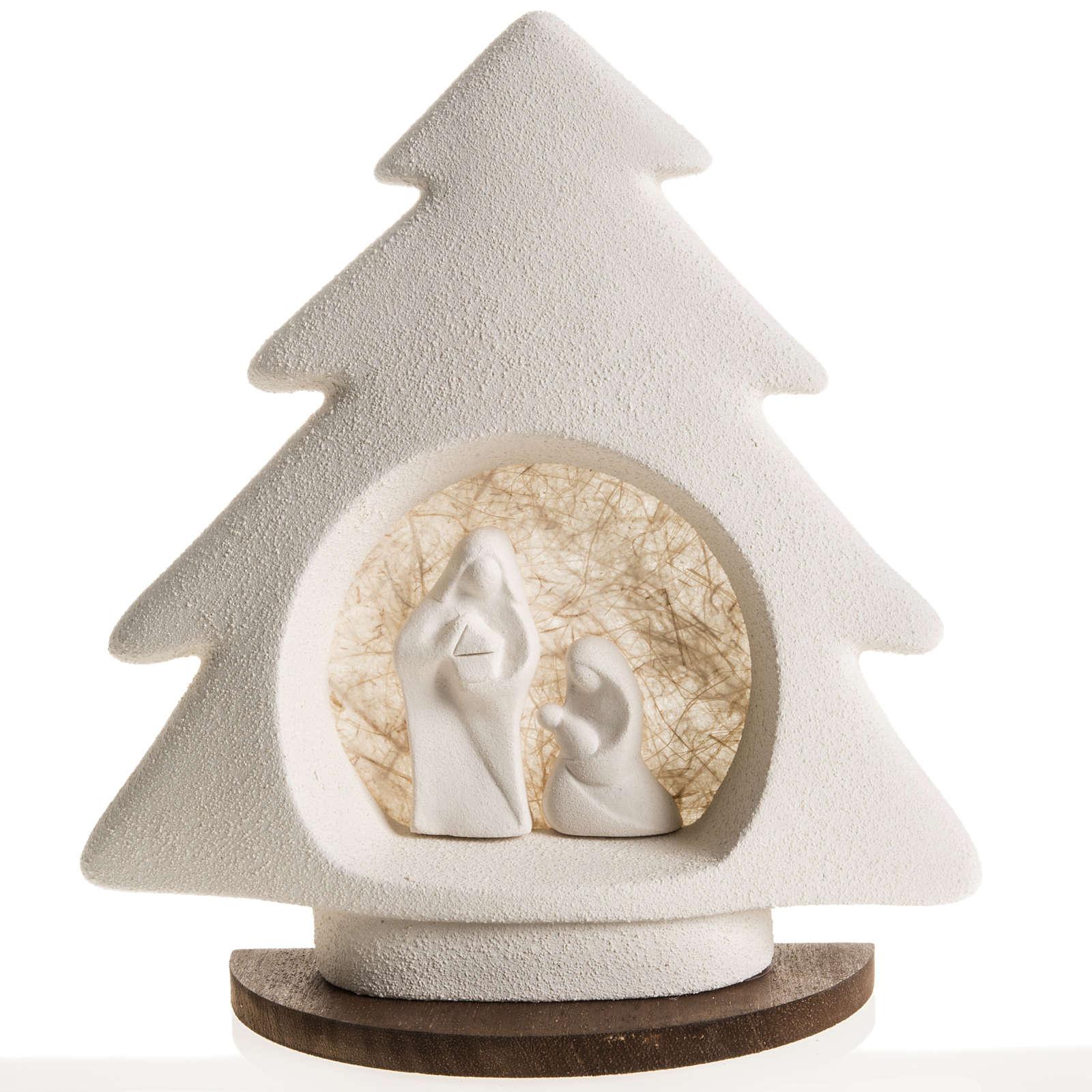 Sapin Noel sur base Nativité écru argile