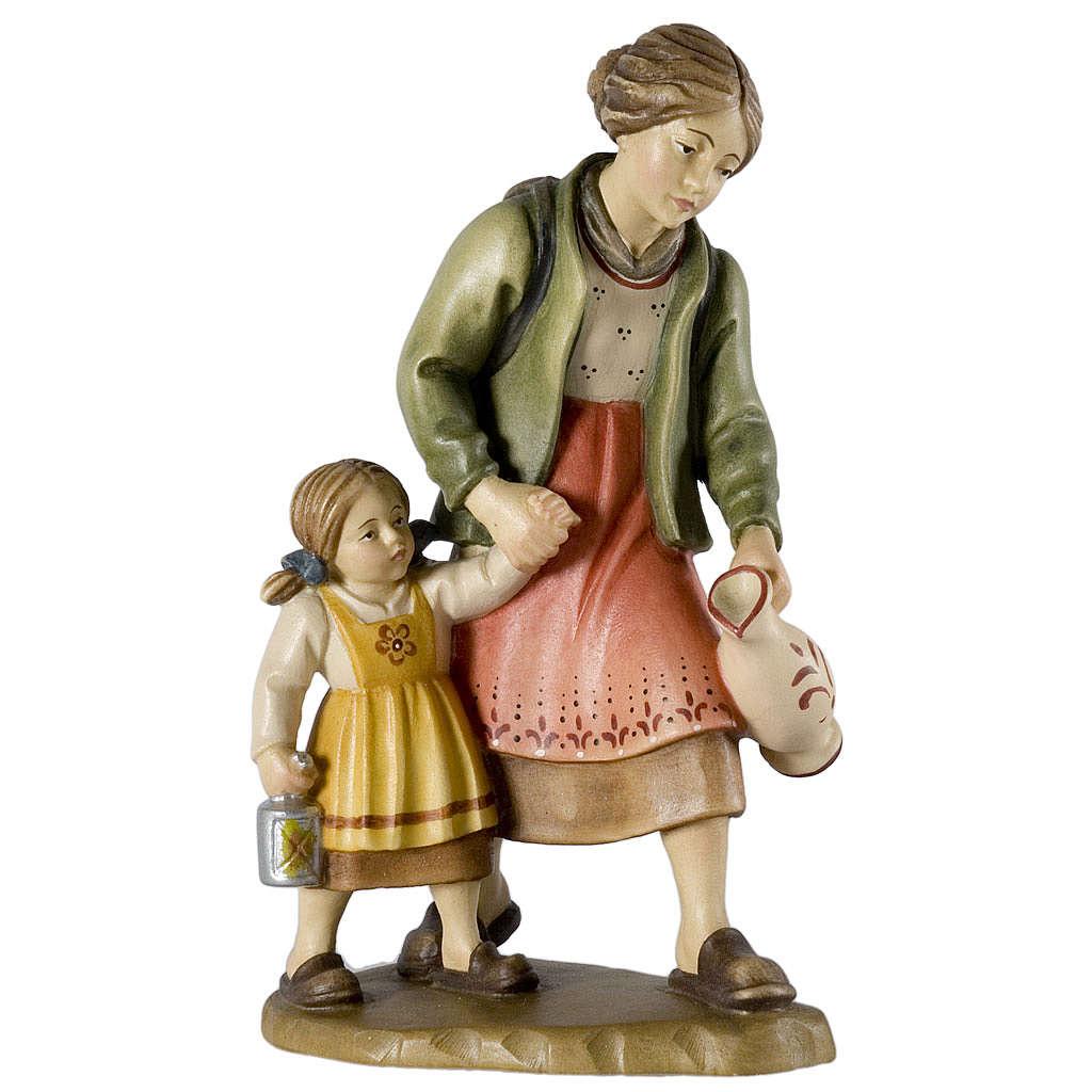 Paysanne et fillette avec cruche 12 cm bois crèche Val Gardena