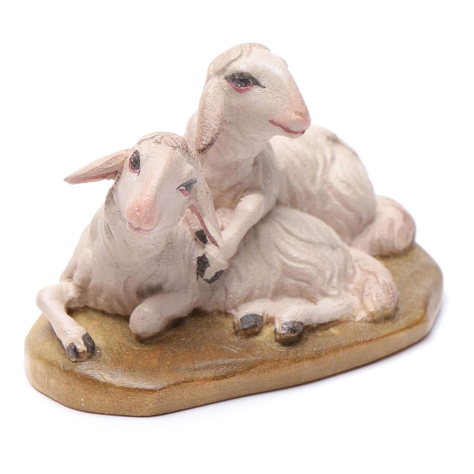 Moutons couchés 12 cm bois crèche Val Gardena
