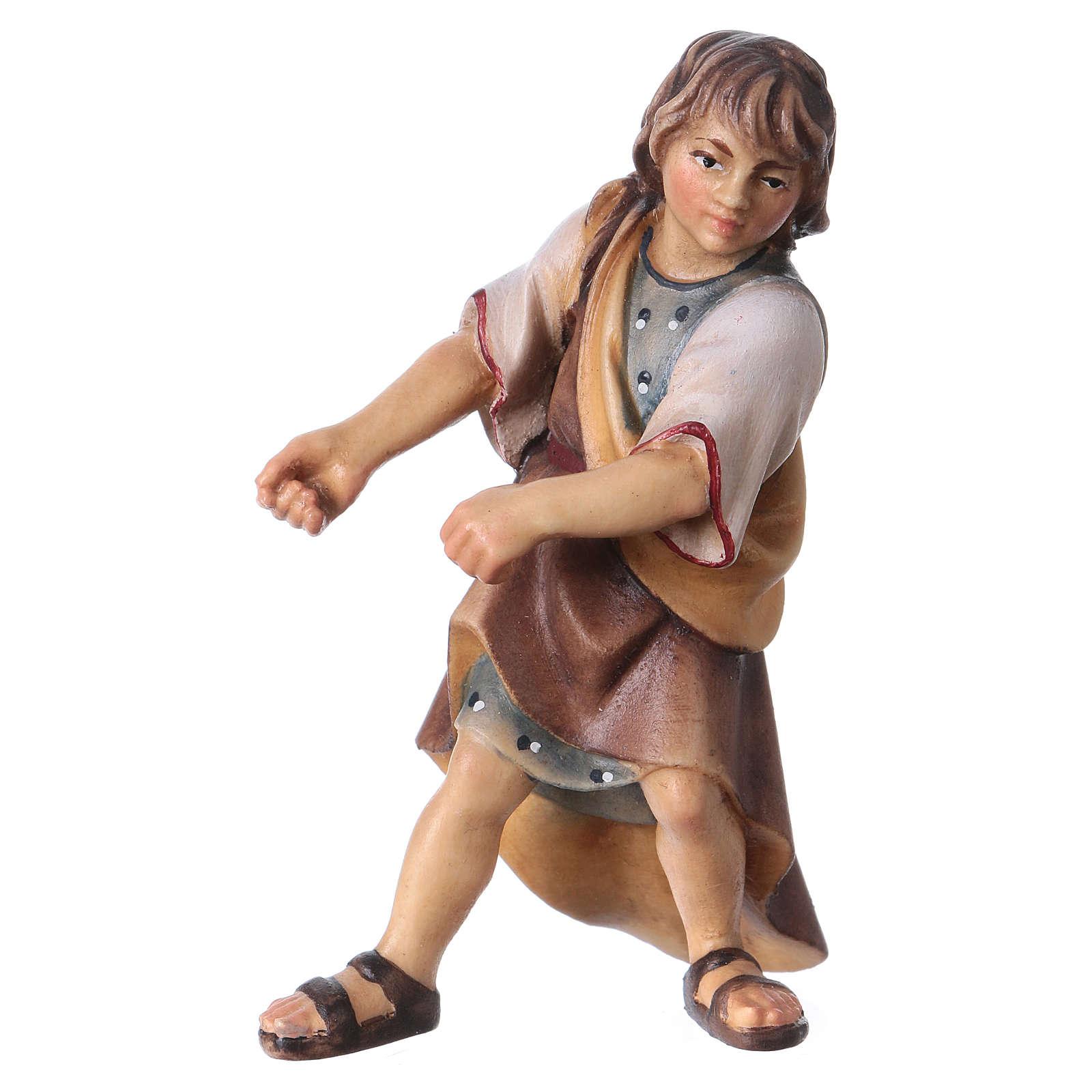 Enfant qui tire bois crèche Original bois peint Val Gardena 12 cm