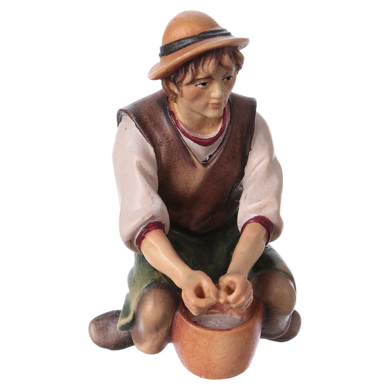 Berger qui trait bois crèche Original bois peint Val Gardena 12 cm