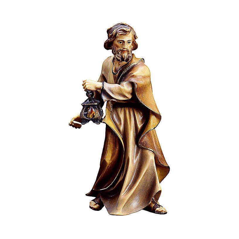 Saint Joseph avec lanterne crèche Original bois Val Gardena 10 cm