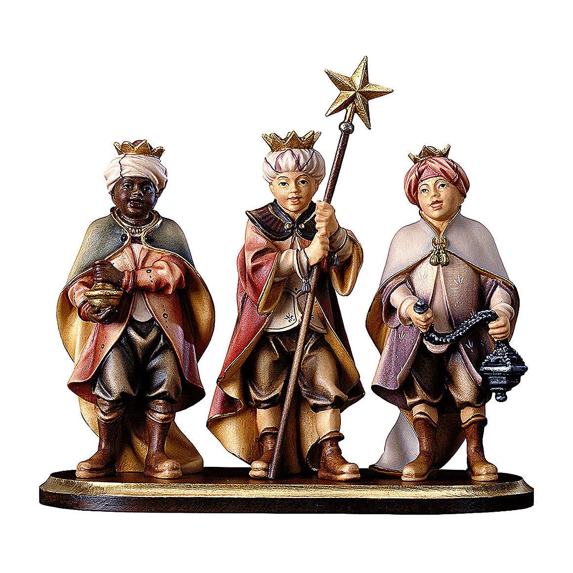 Trois petits chanteurs sur piédestal crèche Original bois peint Val Gardena 10 cm