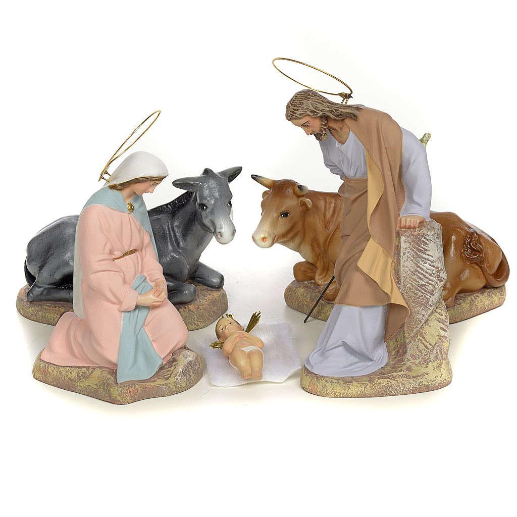 Sainte Famille 5 figurines pâte à bois 20 cm finition raffinée
