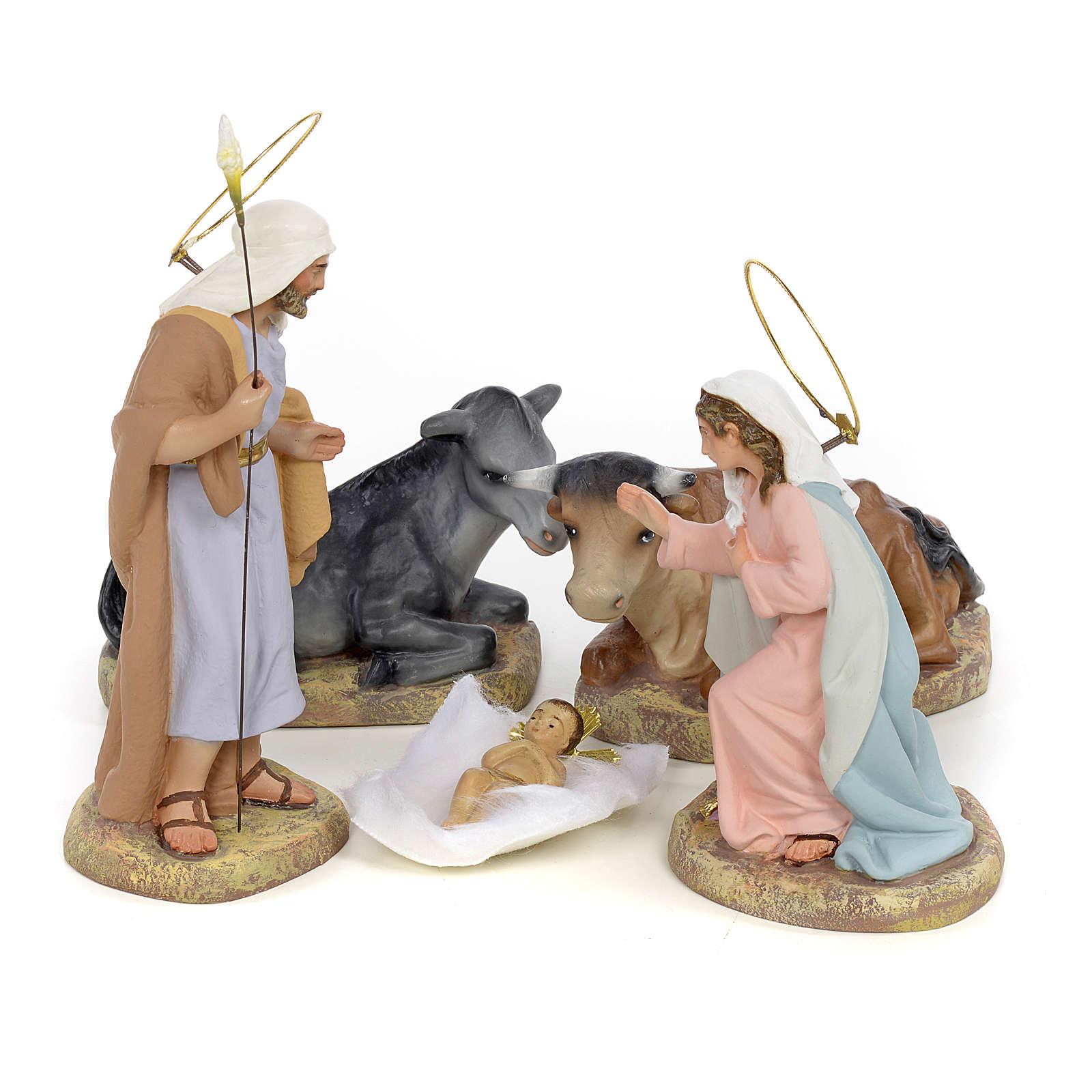 Sainte Famille 5 figurines pâte à bois 15 cm finition raffinée