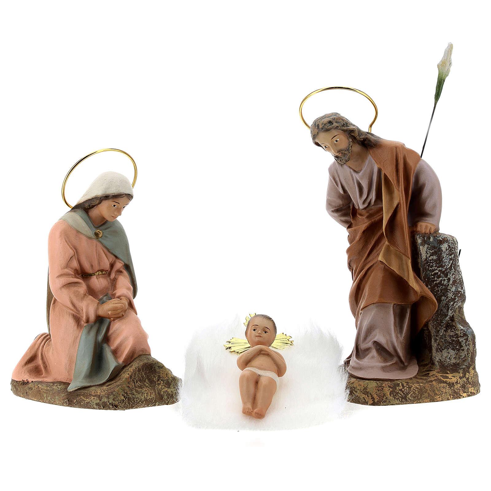 Sainte Famille 3 figurines pâte à bois 20 cm finition élégante