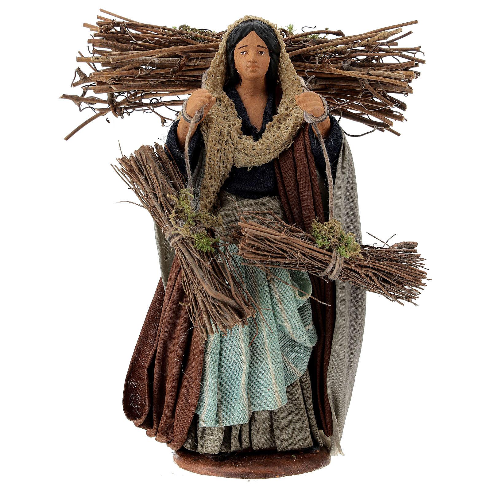 Femme avec fagots de bois 14 cm crèche Naples