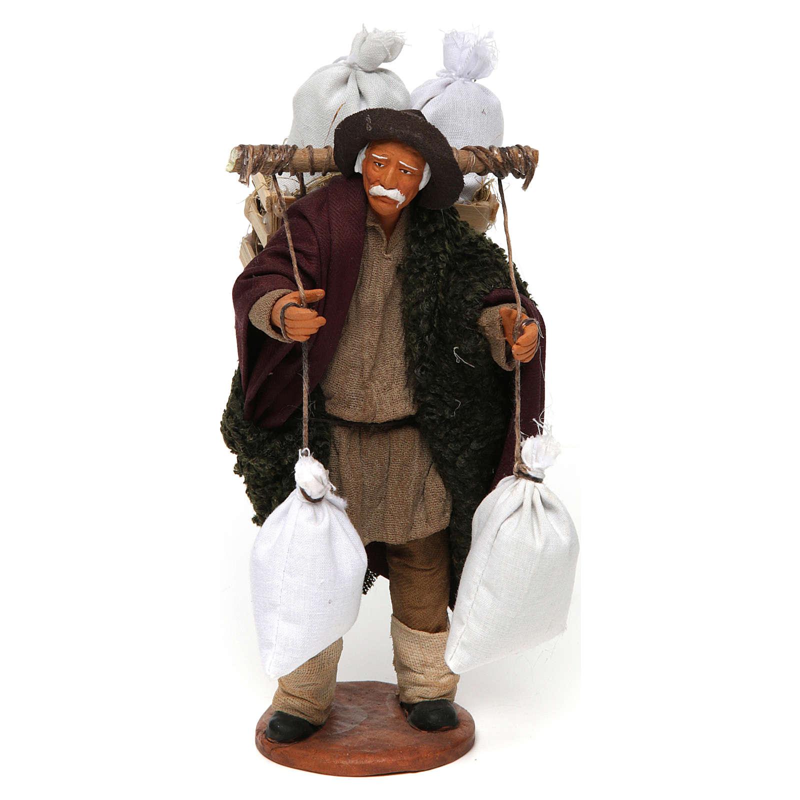 Homme avec caisse et sacs de farine 14 cm crèche Naples