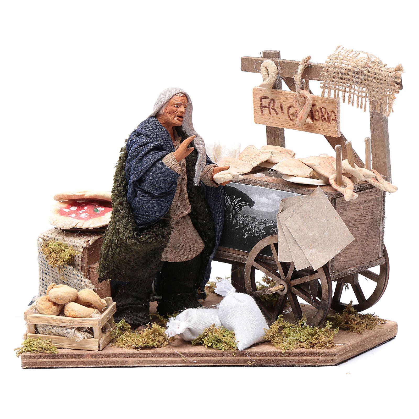 Femme avec charrette de beignets 10 cm crèche napolitaine