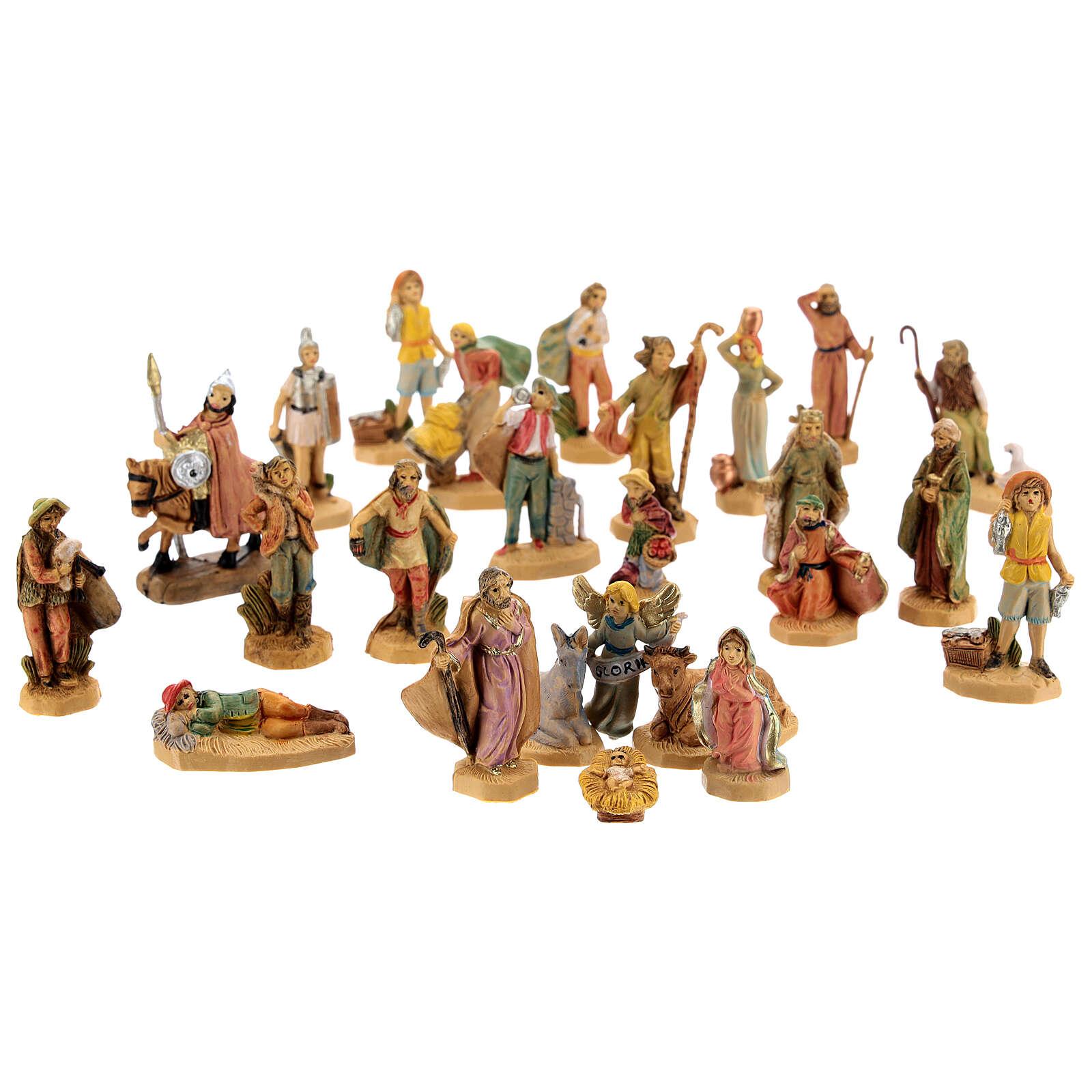 Figurines crèche effet bois 25 pcs 4 cm