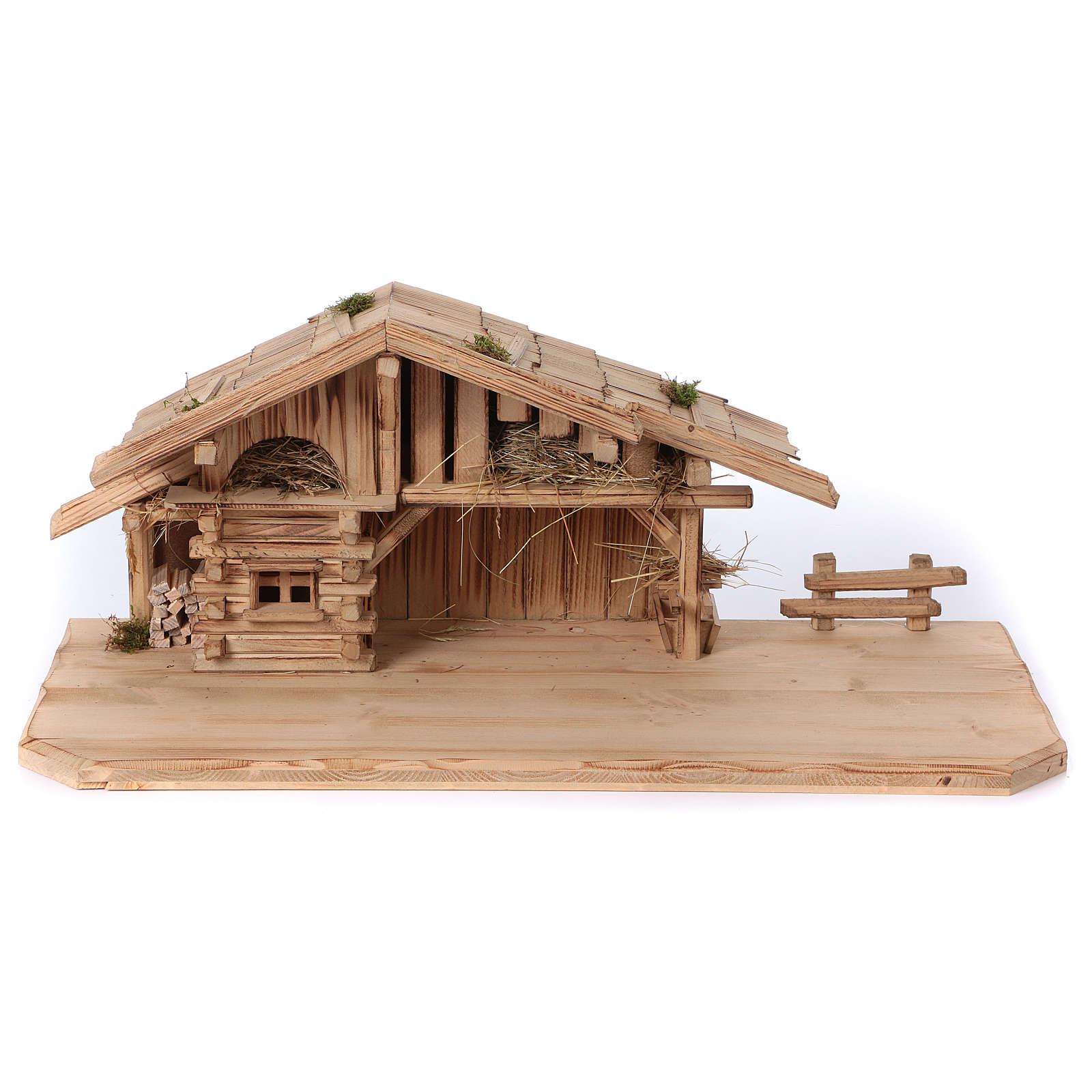 Étable modèle Plosberg en bois pour crèche 9-11 cm