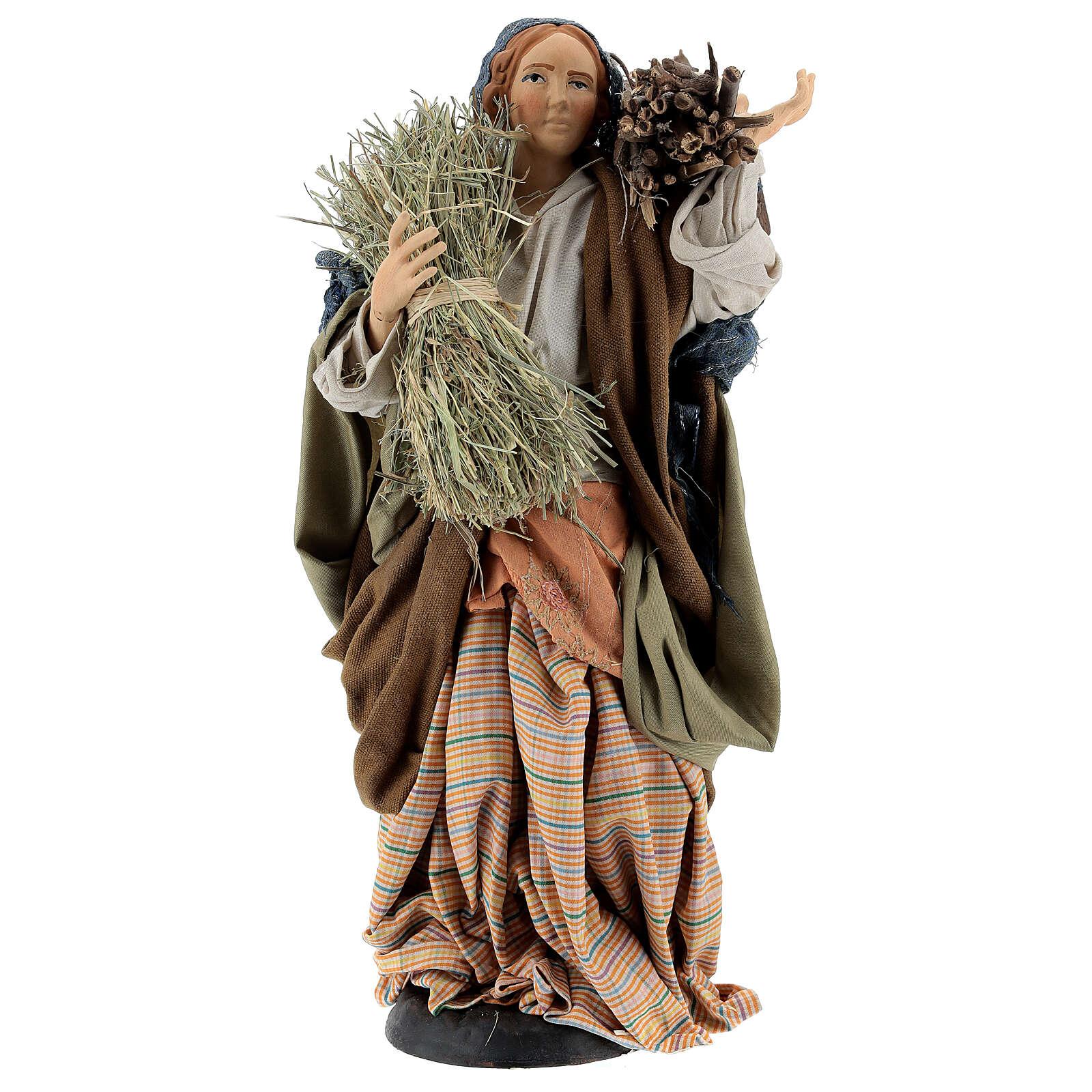 Femme avec fagot de bois et de paille pour crèche Naples style 1700 30 cm