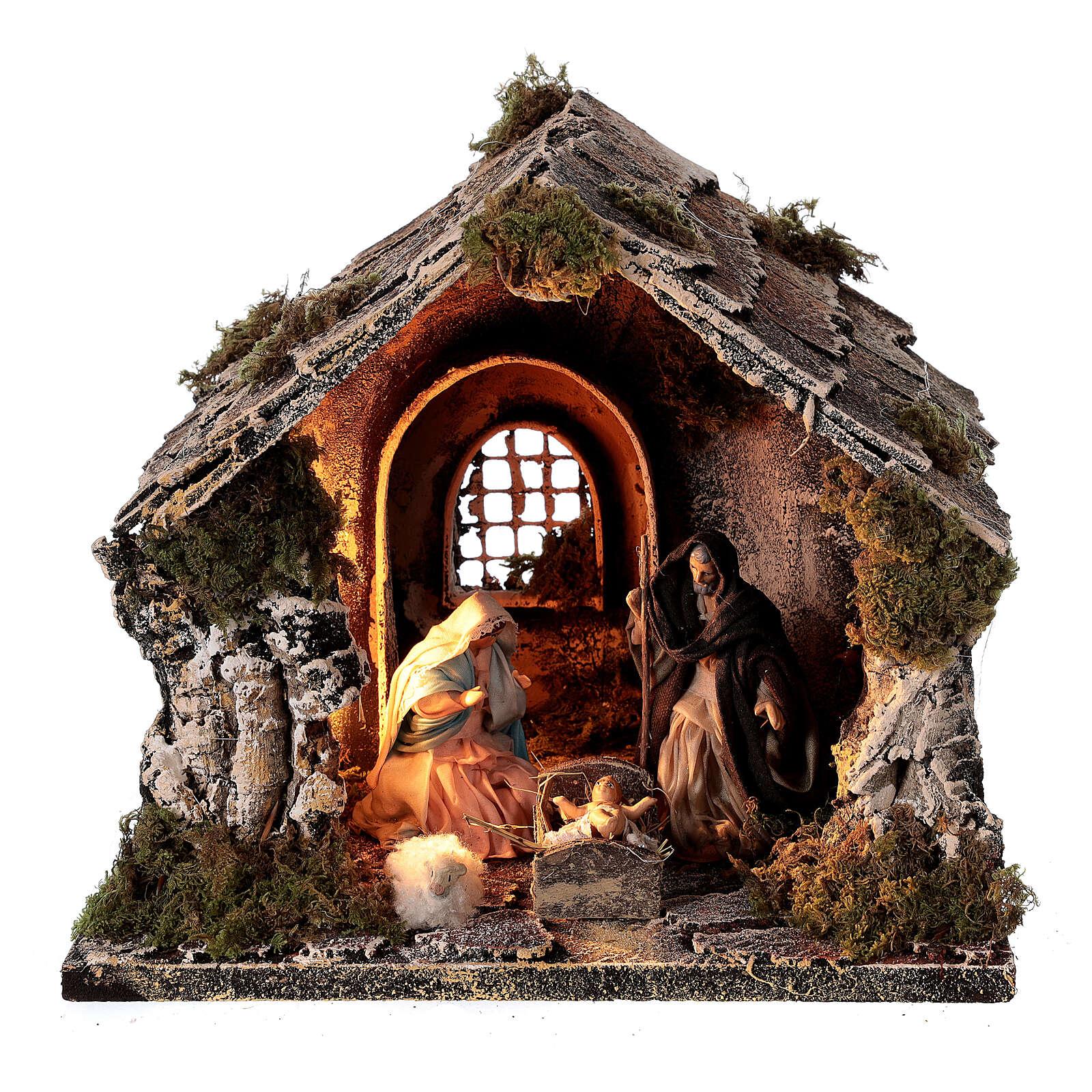 Cabane toit en pente figurines Nativité 10 cm crèche napolitaine 20x25x20 cm