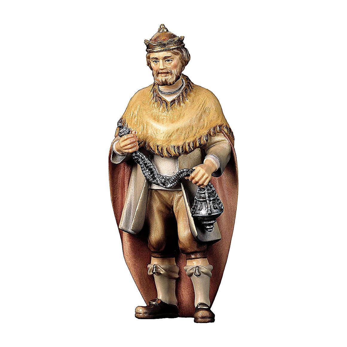 Roi Mage blanc crèche Original Berger bois peint Val Gardena 12  cm