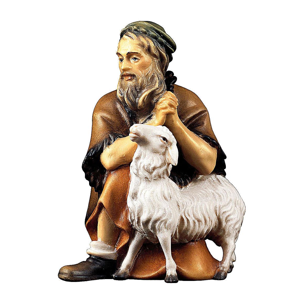 Berger agenouillé avec mouton crèche Original Berger bois peint Val Gardena 12  cm