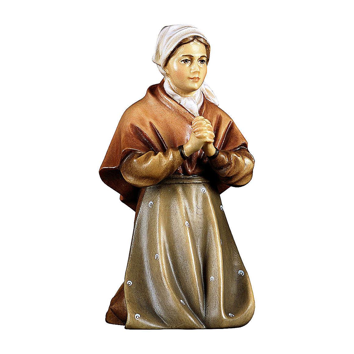 Paysanne qui prie à genoux pour crèche Original Berger bois peint Val  Gardena de 12 cm