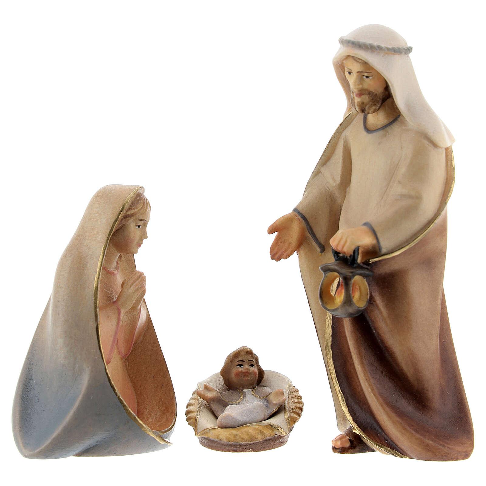Sainte Famille crèche Original Comète bois  peint Val Gardena  10 cm 4 pcs