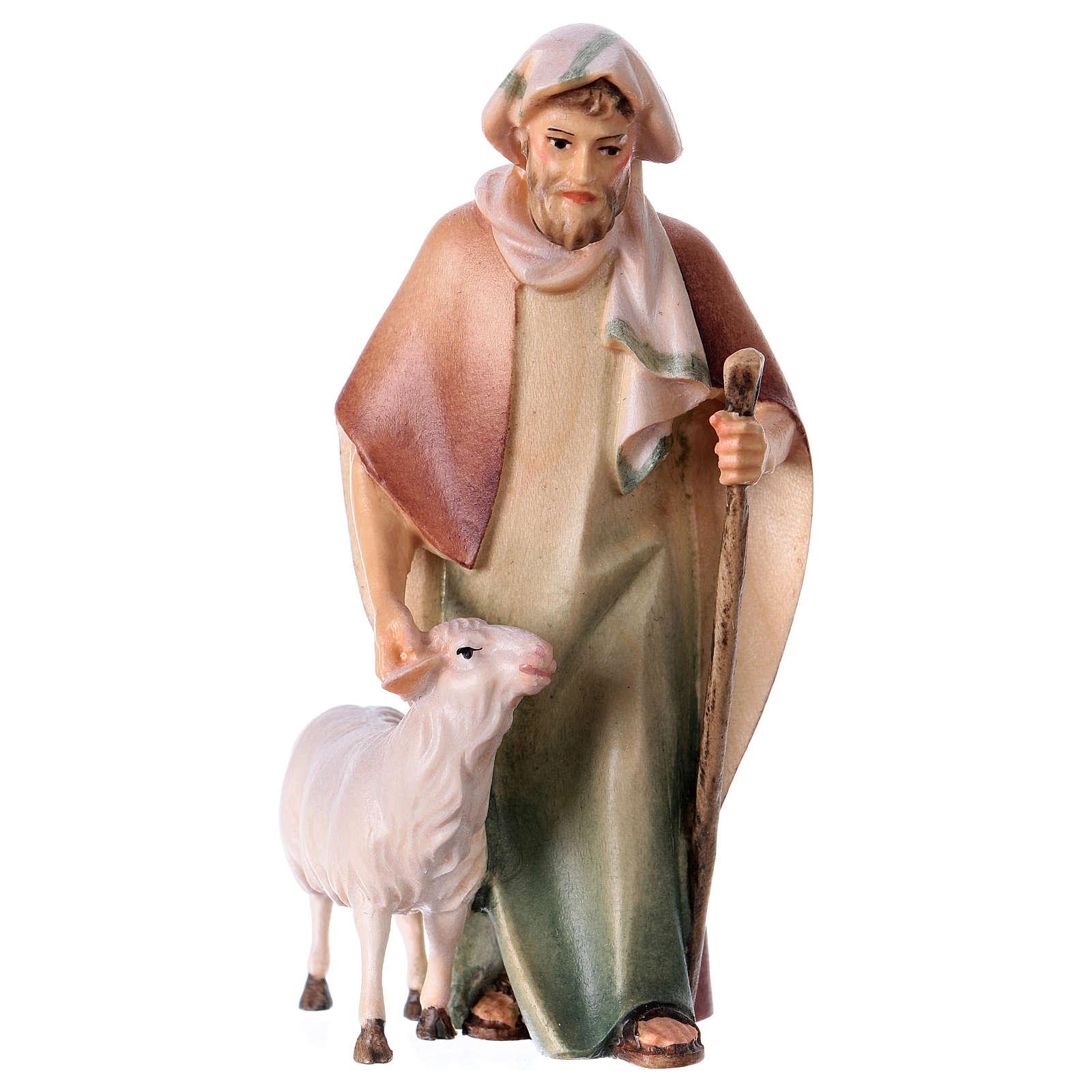 Berger avec canne suivi d'un mouton crèche Original Comète bois peint Val  Gardena 10 cm