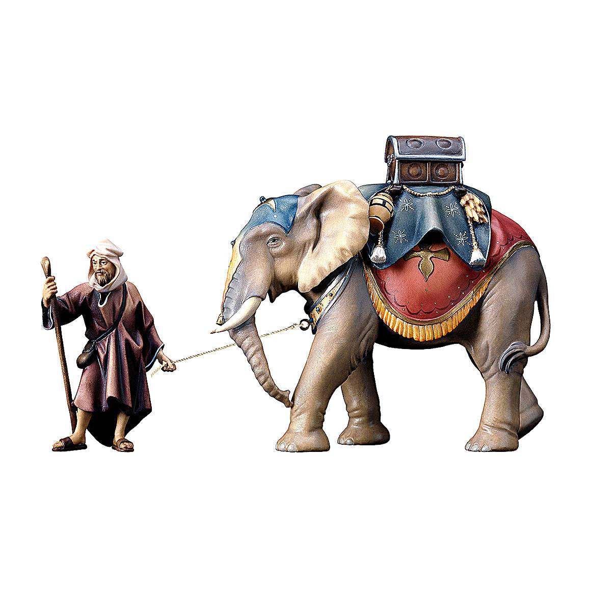 Groupe éléphant chargé et son maître crèche Original bois peint Val  Gardena 12 cm