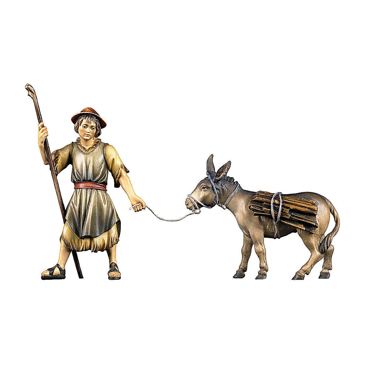 Berger qui tire un âne avec bois crèche Original bois peint Val  Gardena 12 cm