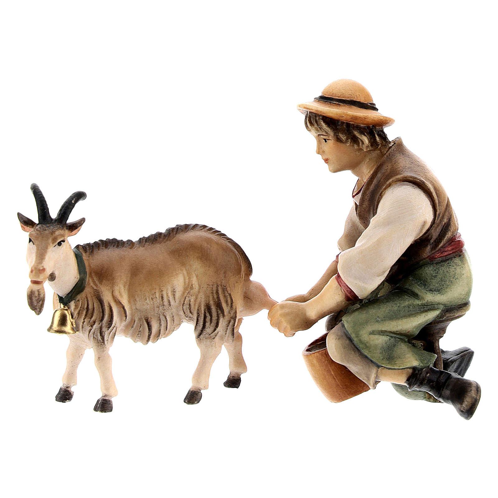 Berger qui trait une chèvre crèche Original bois peint Val  Gardena 10 cm