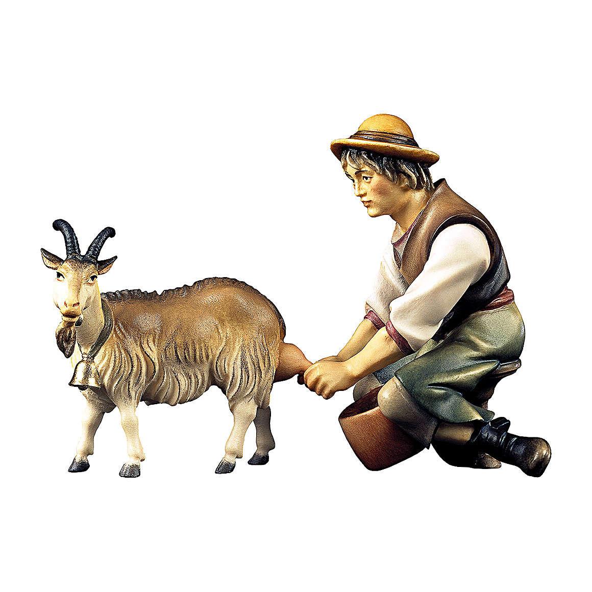 Berger qui trait une chèvre crèche Original bois peint Val  Gardena 12 cm