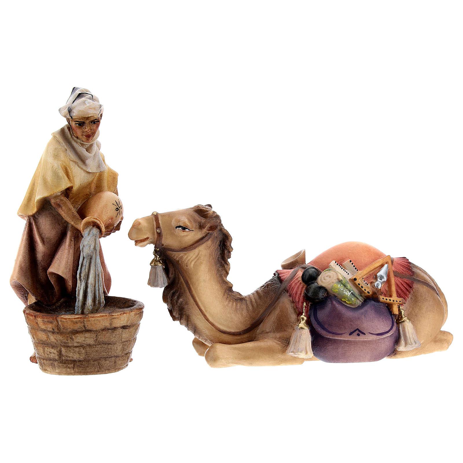 Chamelier avec chameau accroupi crèche Original bois peint Val  Gardena 10 cm