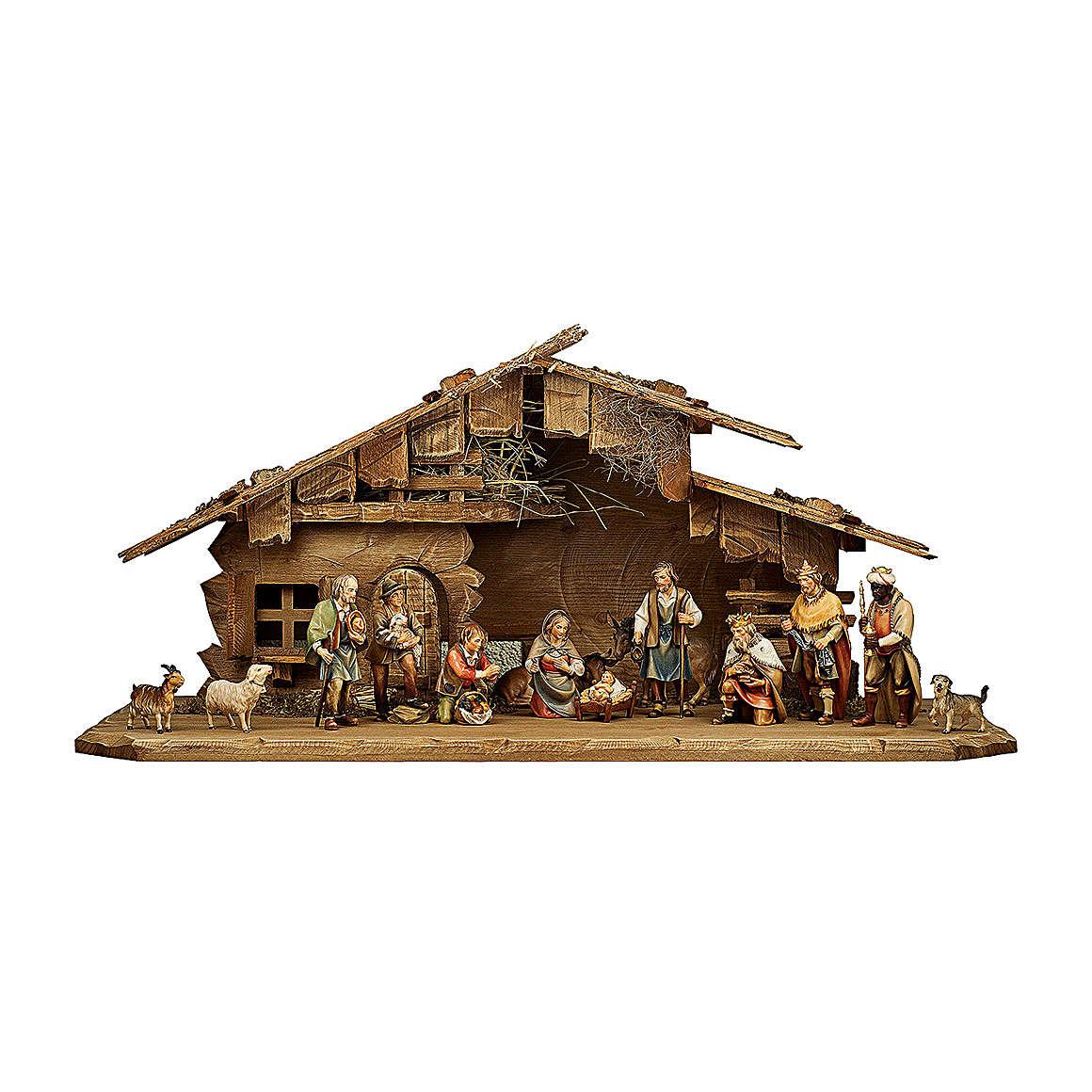 Crèche dans étable pour crèche Original Berger bois  peint Val Gardena 12 cm 14 pcs
