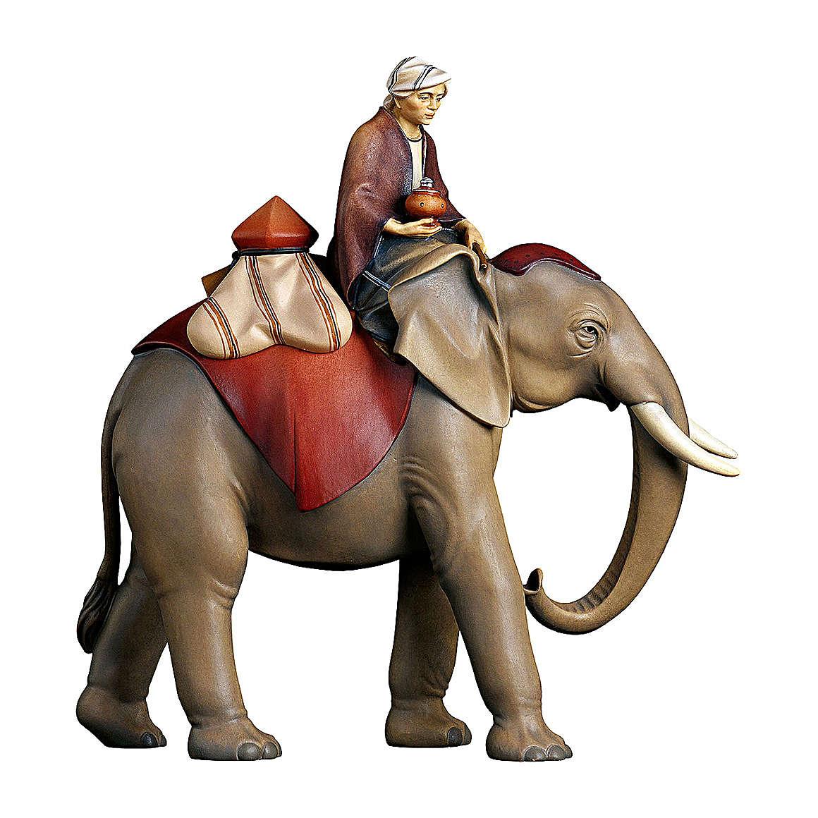 Groupe éléphant avec selle bijoux crèche Original Comète bois peint Val Gardena 10 cm